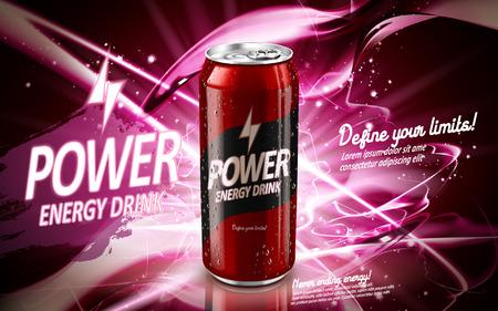 빨간색 포함 된 에너지 음료, 현재 요소 주변, 분홍색 배경, 3d 그림 일러스트