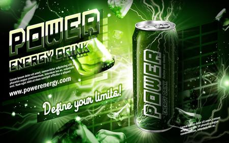 bebida energía contenida en lata verde, con elemento de corriente rodea, fondo verde, ilustración 3d