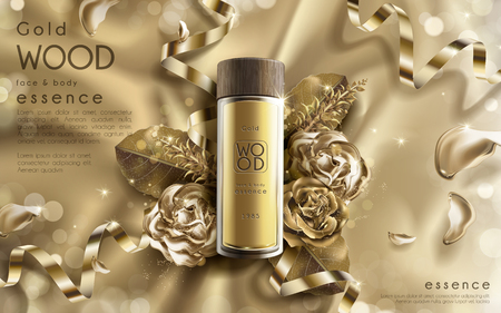 golden wood essence ad, contained in a small bottle with rose flower elements, valentines day special golden background Illustration