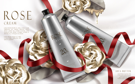 contained: rose cream ad, contained in silver tubes with rose flower elements, valentines day special silver background