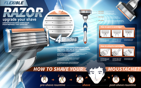 handsome guy: flexible razor ad, showing instructions, valentines day special light blue background