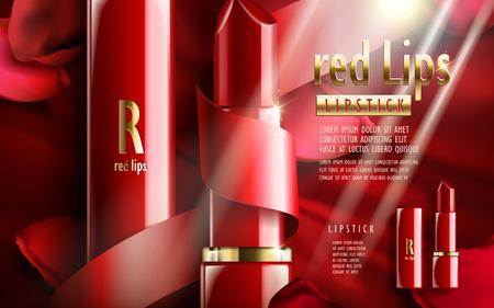 Rote lippenstift ad, mit stieg blumenblütenelementen, valentinstag besonderer roter hintergrund Standard-Bild - 70650462