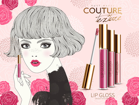 lip gloss: lip gloss ad, showing modern style young girl and rose flower elements, valentines day special isolated pink background Illustration