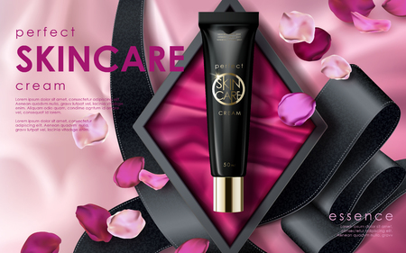 perfect skincare ad, contained in a black tube with rose flower petal elements, valentines day special pink background
