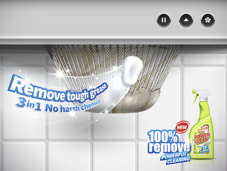 remove grease detergent ad, extractor hood background, 3d illustration