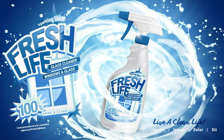 contained: window glass cleaner contained in spray bottle, clean water flow background, 3d illustration