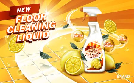 레몬 아로마 바닥 액체, 노란색 배경, 3d 일러스트를 청소