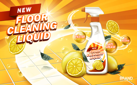 lemon aroma floor cleaning liquid, yellow background, 3d illustration