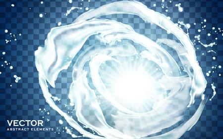 lighted white water flow ring, transparent background, 3d illustration