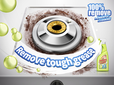 remove grease detergent ad, gas stove background, 3d illustration