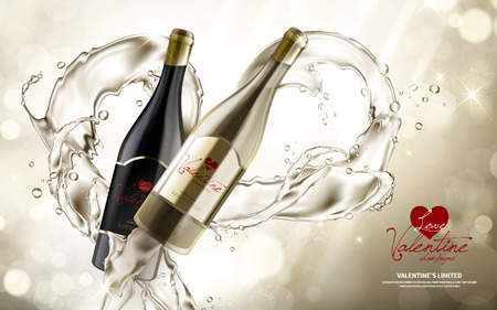 contained: champagne contained in a pair of wine bottles, valentines day limited special, 3d illustration