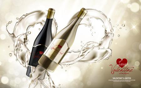 champagne vervat in een paar wijnflessen, beperkt de speciale dag van de valentijnskaartendag, 3d illustratie