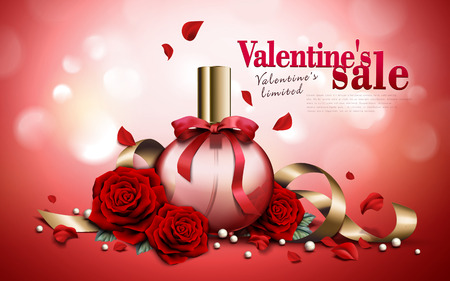 charming aroma perfume ad, contained in round pink bottles, valentines day special red background, 3d illustration Ilustrace
