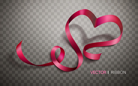 heart background: heart shaped red ribbons, isolated transparent background, 3d illustration Illustration