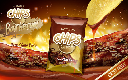 Potato chips ad barbecue flavour, with barbecue sauce flow elements