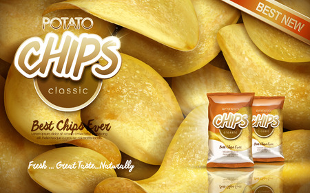 potato: Classic flavour potato chips ad with piling chips and bags, 3d illustration Illustration
