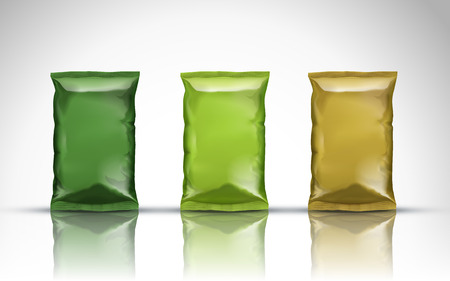 aluminum background: Aluminum snack bags of color green, lime and golden, white background Illustration