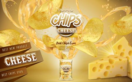 Patatas fritas y elementos de queso que sale de una bolsa, fondo dorado. 3d ilustración