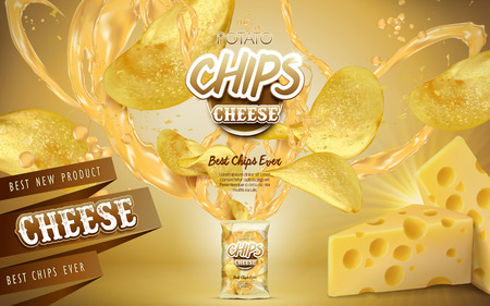Potato chips and cheese elements coming out from a bag, golden background. 3d illustration