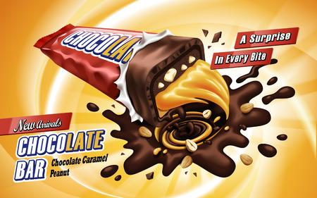 Caramel chocoladereep die in het midden, geïsoleerde oranje achtergrond, 3d illustratie is gebroken