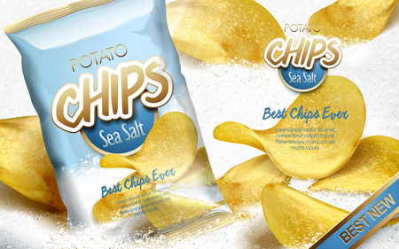 Potato chips ad sea salt flavor, with white salt elements and a bag, 3d illustration