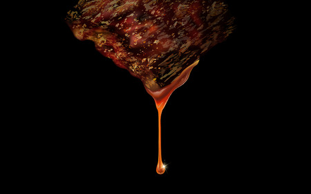 gravy: Grilling meat with gravy elements, isolated black background, 3d illustration Illustration