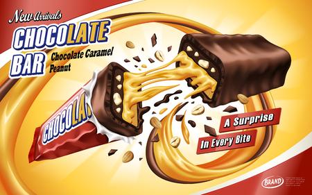 チョコレートとキャラメルの流れを孤立したオレンジ色の背景、3 d イラストで途中で壊れた広告バー チョコレート キャラメル