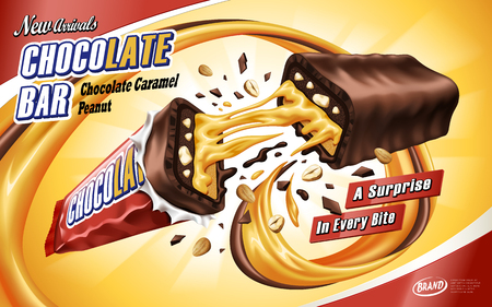 Caramel chocolate bar ad broken in the middle with chocolate and caramel flows, isolated orange background, 3d illustration