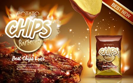 Aardappelchips ad barbecue smaak, met vuur grillen vlees elementen, 3d illustratie