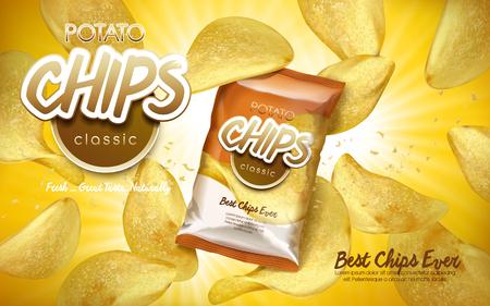 Clásico chips de patata sabor anuncio con chips de vuelo y una bolsa, ilustración 3d