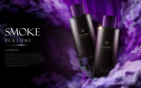 Classic smoke perfume contained in purple bottles, 3d illustration