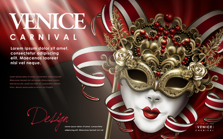 Venice Carnival poster, splendid carnival decorative mask with jewelry in 3d illustration, red and gold tone Illustration
