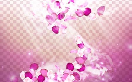 Elementos de aroma de flor rosa con pétalos bailando, ilustración 3d Foto de archivo - 72411768
