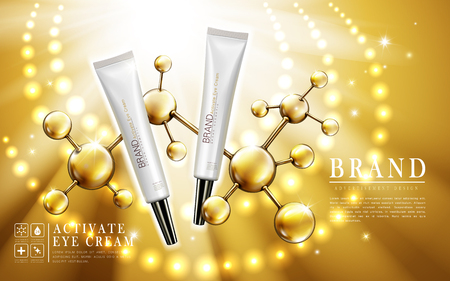 active eye cream with atom structure and light ring, 3d illustration