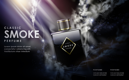 contained: classic smoke perfume contained in glossy glass bottle, 3d illustration
