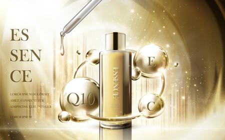 물방울 병, 황금 광택 배경 3d 그림에 포함 된 화장품 에센스 제품 일러스트