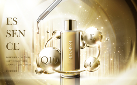 cosmetic essence product contained in droplet bottle, golden luster background 3d illustration