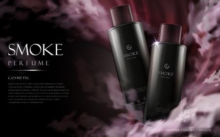 atmosfera: cosméticos del perfume de humo contenida en botellas negras, ilustración 3d