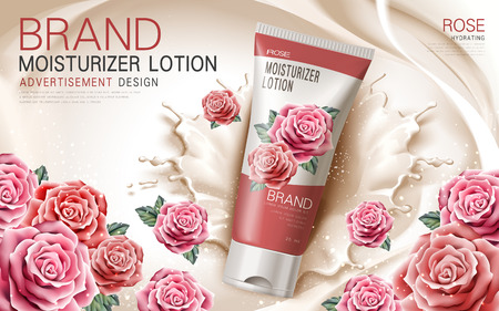 lotion: moisturizer lotion ad with rose flowers and cream elements, 3d illustration