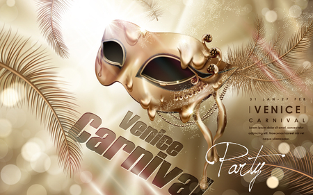 Venice Carnival poster, elegant golden decorative eye mask with feathers isolated on golden bokeh background in 3d illustration