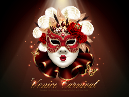 ヴェネツィアのカーニバルのポスター、豪華さと 3 d イラストレーションでキラキラの要素を持つ素晴らしいマスク装飾