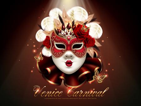 Manifesto di carnevale di Venezia, lusso e decorazione splendida della maschera con gli elementi di scintillio nell'illustrazione 3d Archivio Fotografico - 72411841