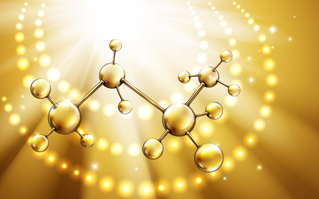 golden light ring background with atom structure, 3d illustration