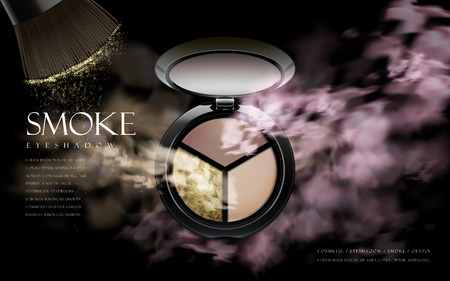 Tricolor cosmetic smoke eyeshadow contained in a cosmetic case, 3d illustration Illustration