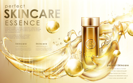 Golden skincare product contained in glass bottle with golden flow effects, 3d illustration