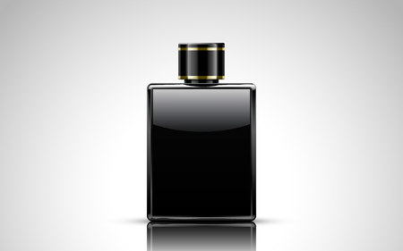 office tool: Glass ink bottle filled with ink, isolated white background, 3d illustration
