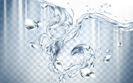 water flow: Pure water flow elements, isolated transparent background, 3d illustration