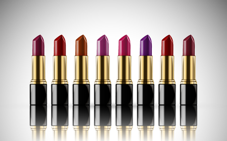 beauty products: Colorful lipstick model together, isolated white background Illustration