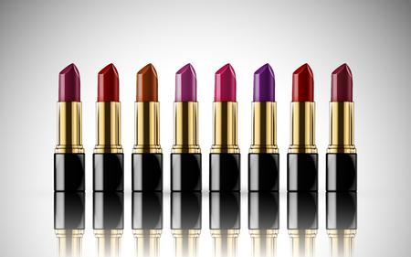 productos de belleza: Colorido modelo de lápiz labial juntos, aislado fondo blanco