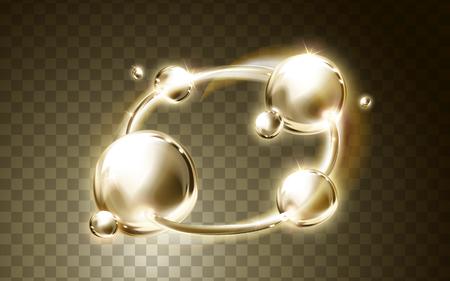 Gouden lichte ring en bubble elementen, transparante achtergrond, 3d illustratie